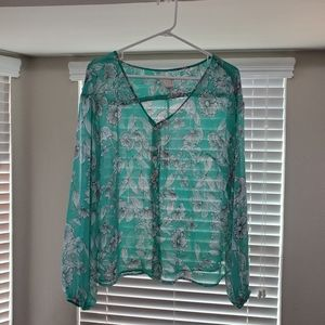 A New Day Green Sheer Blouse:Size XL